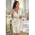 plus size-2106 Soft Satin Dressing Gown Ivory S-7XL Dressing Gowns-Nine X