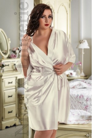 2106 Soft Satin Dressing Gown Ivory S-7XL