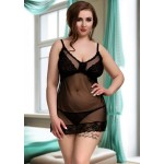 plus size-080 Nine X Sexy Mesh with Lace panels Plus Size Lingerie 12-22 L-5XL Black Babydolls-Nine X