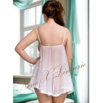 plus size-005 Sheer White Chemise Lace Bust  M-6XL Babydolls-Nine X