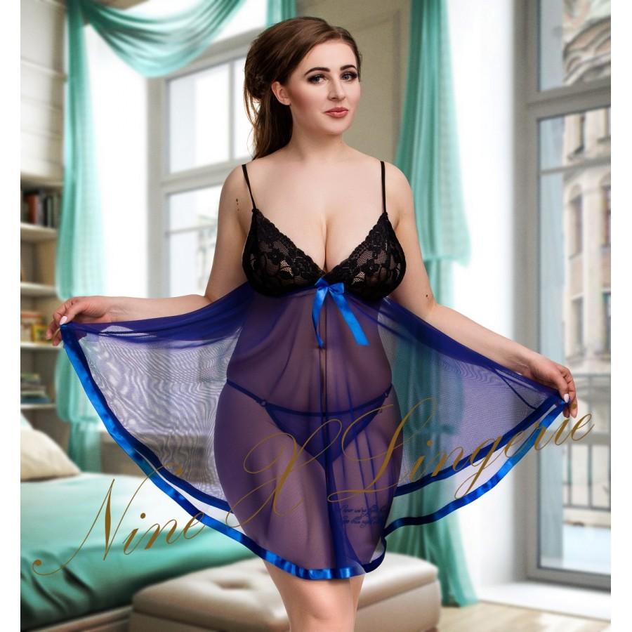 69d8573e6b0 plus size-005 Sheer Blue Chemise With Feminine Lace Bust M-6XL Babydolls-