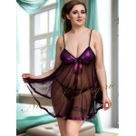 plus size-005 Sequin Bust Babydoll With Sheer Flared Skirt Purple  M-6XL Babydolls-Nine X