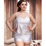 plus size-082 Plus Size Satin Cami Set S-6XL 8-24 White Cami Sets-Nine X
