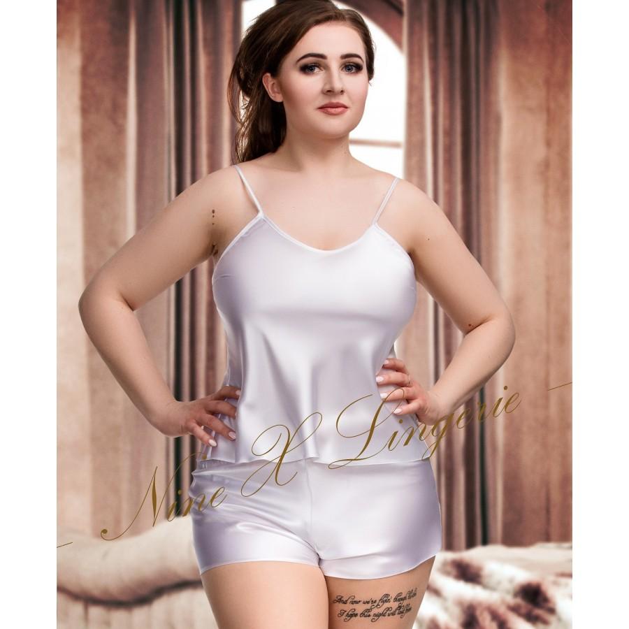 ed6bd8eec85 082 Plus Size Satin Cami Set S-6XL 8-24 White Cami Sets