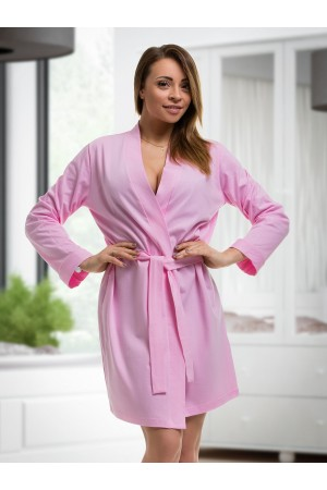 ***Discontinued*** 2107 Cotton Robe Baby Pink S-6XL 8-24