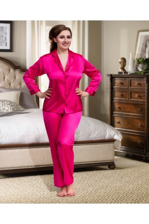 084 Pink Plus Size Satin Pyjama Set Long Sleeve Nightwear S-6XL