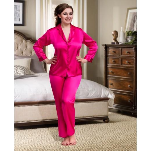 plus size-084 Pink Plus Size Satin Pyjama Set Long Sleeve Nightwear S-6XL Cami Sets-Nine X