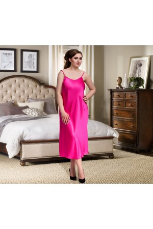 081 Pink Long Satin Chemise Plus Size  8-24uk  S-6XL