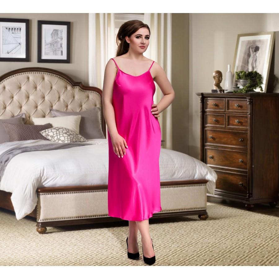 081 Pink Long Satin Chemise Plus Size 8-24uk S-6XL