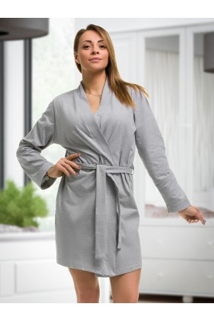2107 Cotton Robe Grey S-6XL 8-24 ***Discontinued***