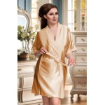 plus size-2106 Soft Satin Dressing Gown Gold S - 7XL Dressing Gowns-Nine X