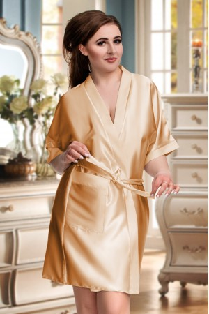 2106 Soft Satin Dressing Gown Gold S - 7XL