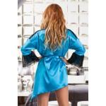plus size-048 Glamorous White silky satin robe  S-6XL Dressing Gowns-Nine X