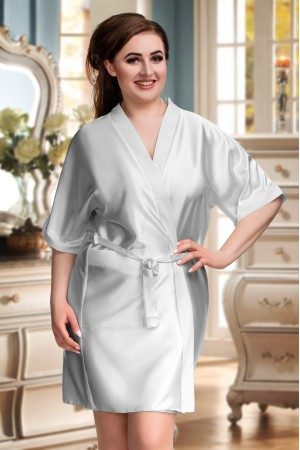2106 Soft Satin Dressing Gown Silver S - 7XL