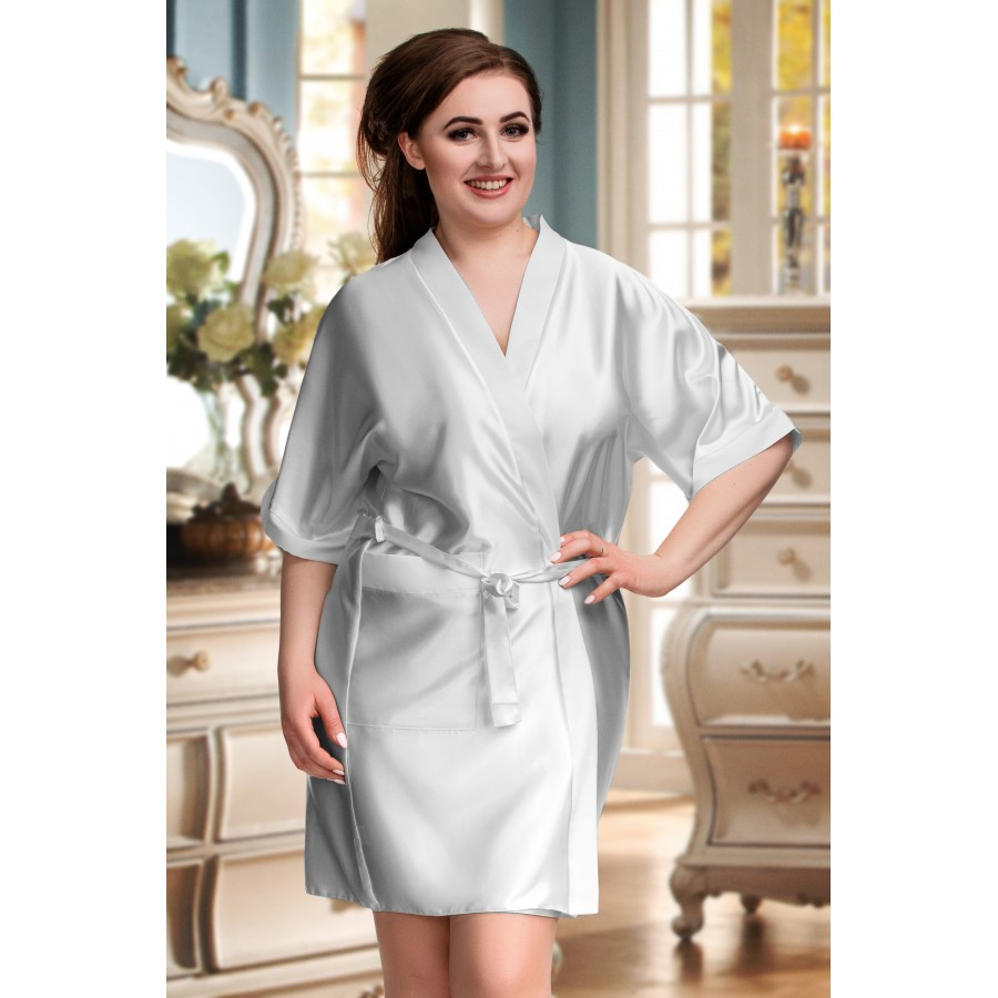 08e71511cbb plus size-2106 Soft Satin Dressing Gown Silver S - 7XL Dressing Gowns-Nine