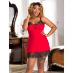 plus size-091 Red Sexy Venecia & Lace Babydoll Plus Size L-7XL 12-26uk Regular Size-Nine X