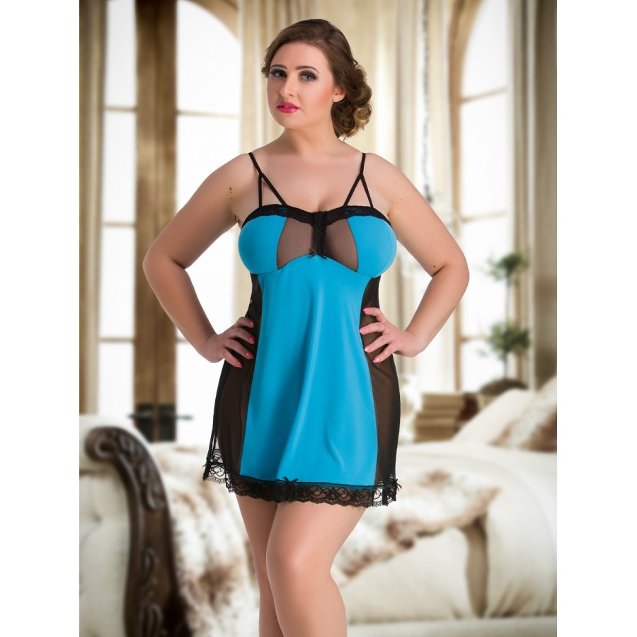 67fa6805 103 Turquoise Sexy Plus Size Nightie Lingerie 10-26 M-7XL Babydoll Babydolls