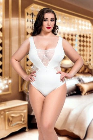 054 'Amina'- Seductive Ivory Lace Cut Out Body S-8XL