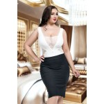 plus size-054  Amina - Seductive White Lace Cut Out Body S-8XL Bodies-Nine X
