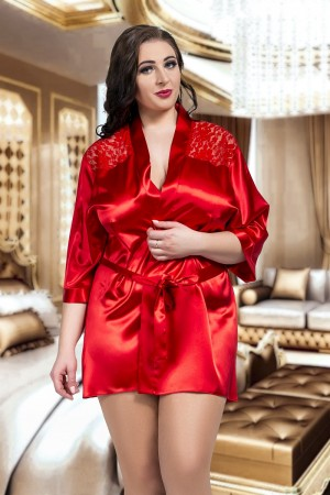 3009 Luxurious Red Satin Kimono With Lace Back  S - 6XL