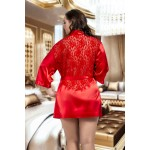 plus size-3009 Luxurious Red Satin Kimono With Lace Back  S - 6XL Dressing Gowns-Nine X