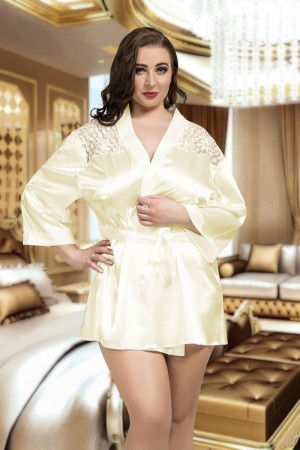 3009 Luxurious Ivory Satin Kimono With Lace Back  S-6XL