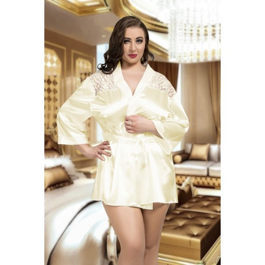 plus size-3009 Luxurious Ivory Satin Kimono With Lace Back  S-6XL Dressing Gowns-Nine X