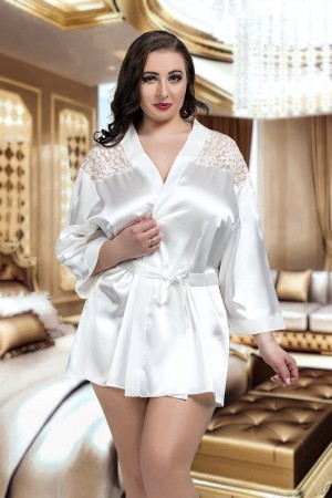 3009 Luxurious white Satin Kimono With Lace Back S - 6XL