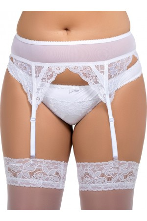 068 Floral Lace & Mesh Garter Belt - White S-8XL