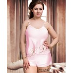 plus size-082 Plus Size Satin Cami Set S-6XL 8-24 Baby Pink Cami Sets-Nine X