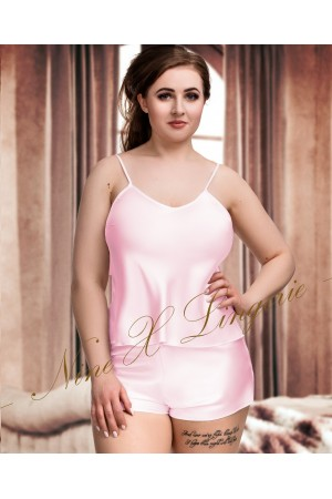 082 Plus Size Satin Cami Set S-6XL 8-24 Baby Pink