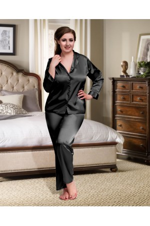 084 Black Plus Size Satin Pyjama Set Long Sleeve Nightwear S-6XL