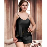 plus size-082 Plus Size Satin Cami Set S-6XL 8-24 Black Cami Sets-Nine X
