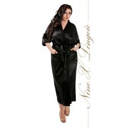 011 Black Satin Full Length Dressing Gown S-7XL