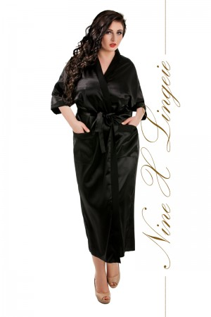 011 Black Satin Full Length Dressing Gown S-7XL
