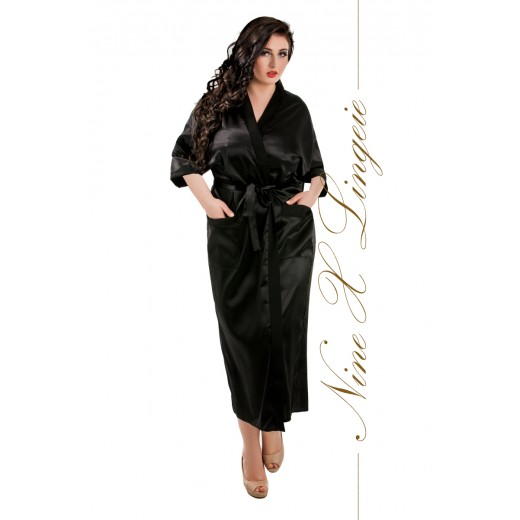 plus size-011 Black Satin Full Length Dressing Gown S-7XL Dressing Gowns-Nine X