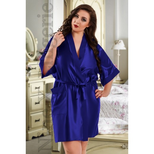 plus size-2106 Soft Satin Dressing Gown Blue S - 7XL Dressing Gowns-Nine X
