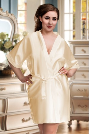 2106 Soft Satin Dressing Gown Champagne S - 7XL