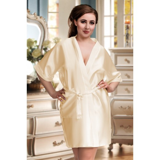 plus size-2106 Soft Satin Dressing Gown Champagne S - 7XL Dressing Gowns-Nine X