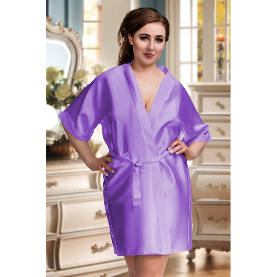 e745342c2 2106 Soft Satin Dressing Gown Lilac S - 7XL Dressing Gowns. plus size-2106  ...