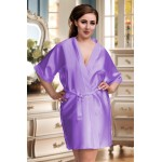 plus size-2106 Soft Satin Dressing Gown Lilac S - 7XL Dressing Gowns-Nine X