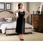 plus size-081 Black Long Satin Chemise Plus Size  8-24uk  S-6XL Chemises-Nine X