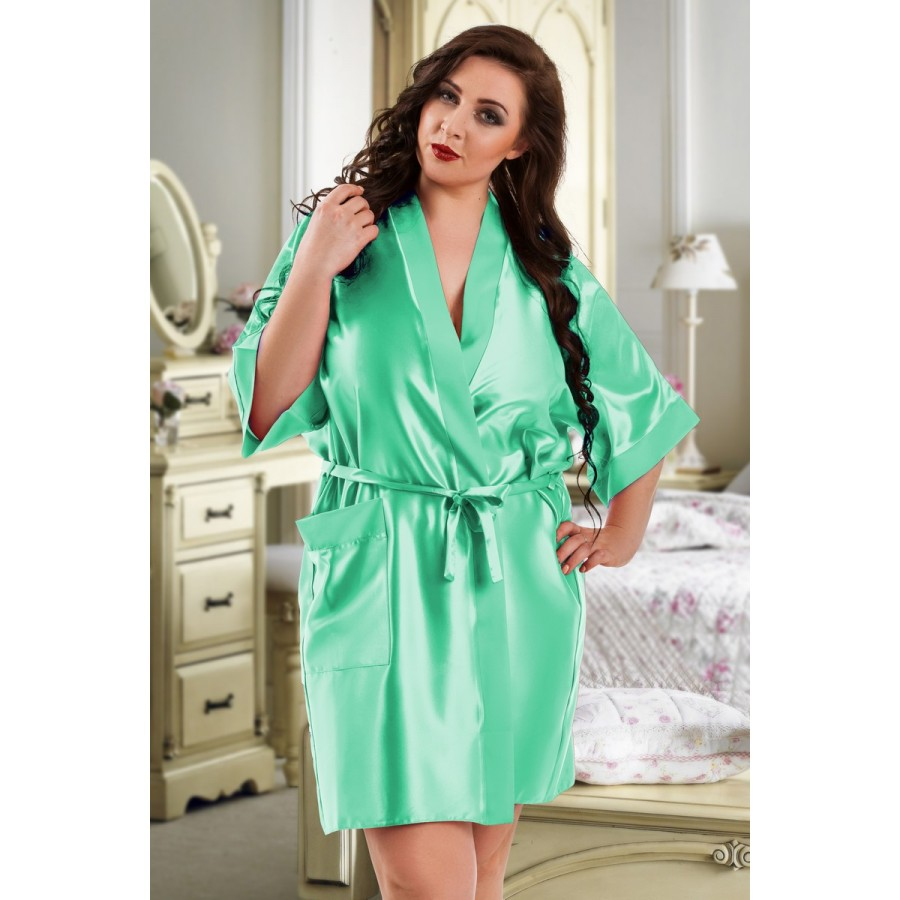 f00236b62 plus size-2106 Soft Satin Dressing Gown Mint S - 7XL Dressing Gowns-Nine