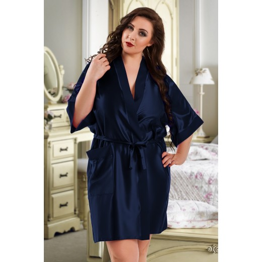 plus size-2106 Soft Satin Dressing Gown Navy Blue S - 7XL Dressing Gowns-Nine X