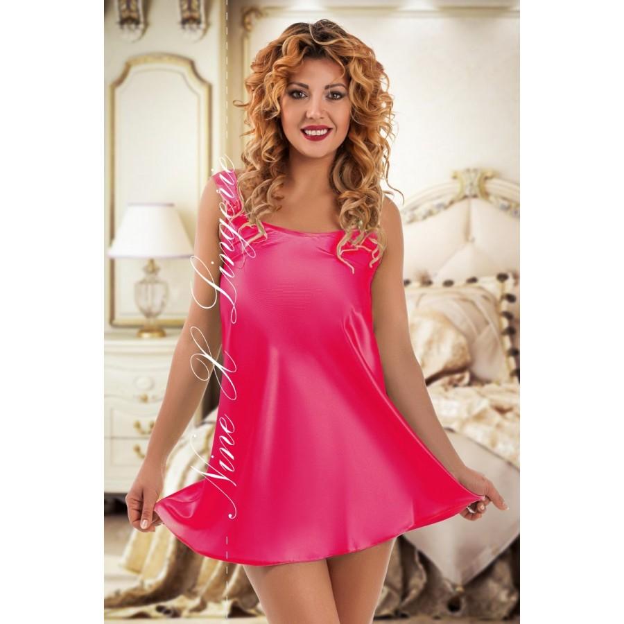 f322d99f7d9 plus size-052 Sleek satin pink chemise S-6XL Babydolls-Nine X