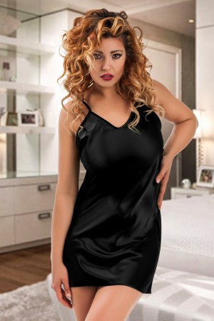 053 Silky Black satin chemise S-6XL