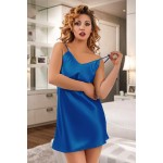 plus size-053 Silky Blue satin chemise S-6XL Babydolls-Nine X