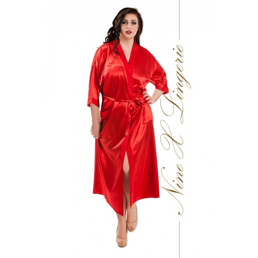 plus size-011 Red Satin Full Length Dressing Gown S-7XL Dressing Gowns-Nine X