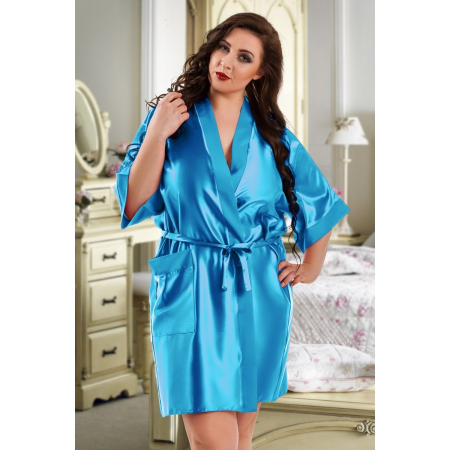 598ee8bb466 plus size-2106 Soft Satin Dressing Gown Turquoise S - 7XL Dressing Gowns- Nine