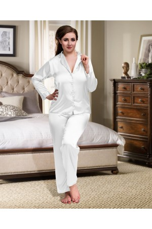 084 White Plus Size Satin Pyjama Set Long Sleeve Nightwear S-6XL